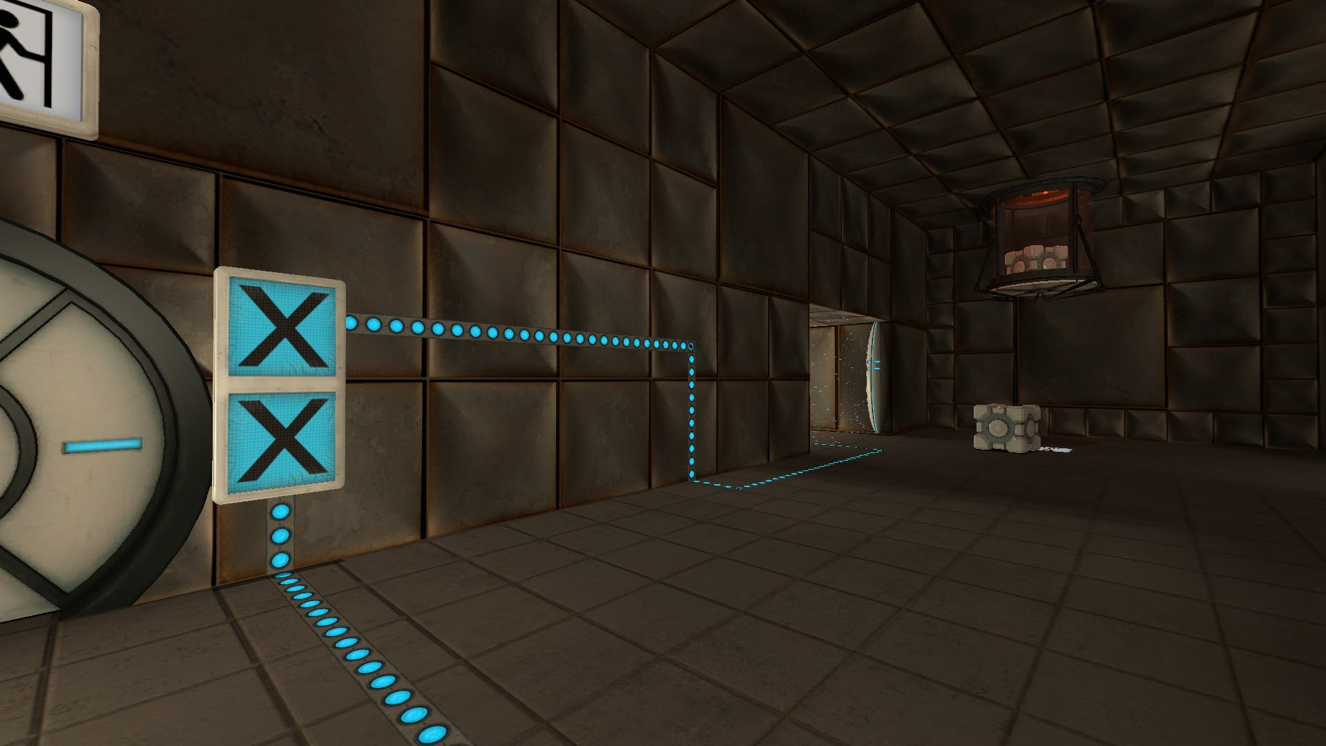 In the first room, indicator lights go from the exit door, past a cube dropper, and through an emancipation grid.