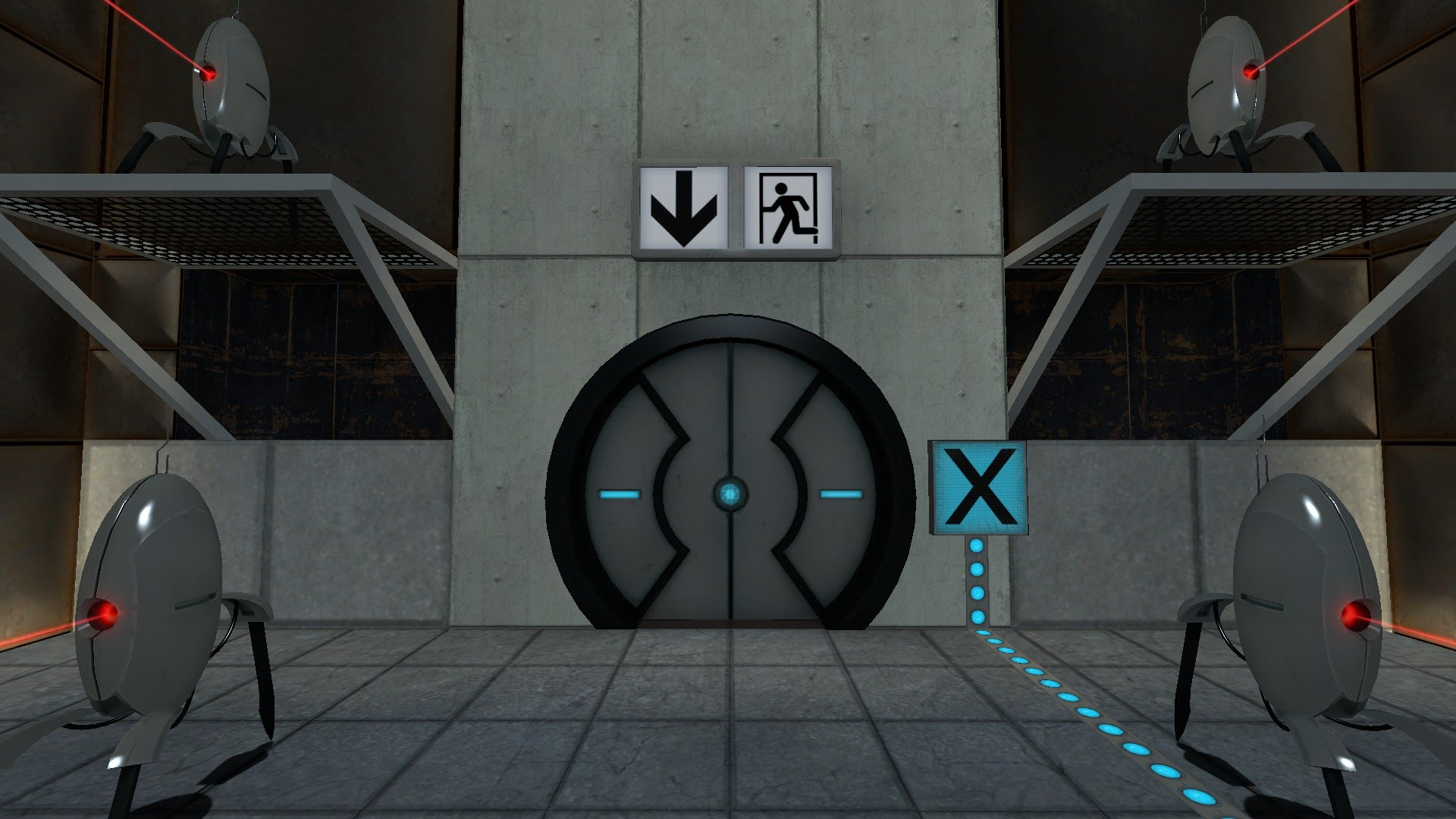The exit door is guarded by turrets.